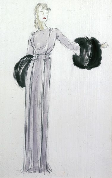 New York evening wear design with outsize fur cuffs for Saks, Fifth Avenue