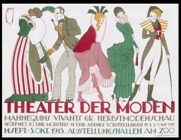 A poster advertising a 'Theatre of Fashion with live models&#39