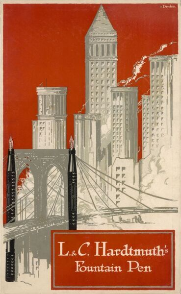 An advertisement for L & C Hardtmuth's fountain pen, showing the pens as supports for a bridge with skyscrapers in the background