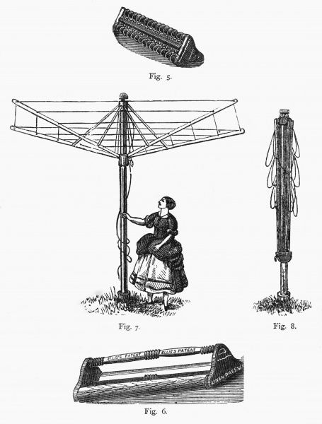 Several engravings illustrating an ingenious device for drying clothes; a forerunner of the fold-up telescopic clothes drier used instead of a line and pegs