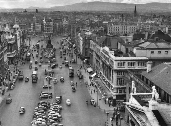 A fine overview of O'Connell Street, Dublin, Ireland, looking southwards from the Nelson Pillar
