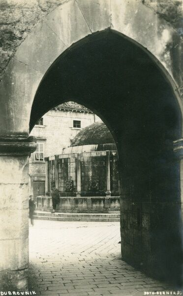 Dubrovnik, Croatia - View through an archway toward the Onofrio Fountain