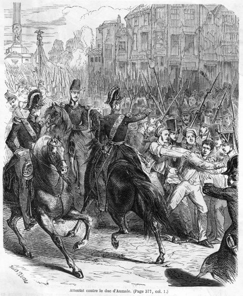 Le duc d'Aumale, perceived as a representative of the royalist faction, is attacked in the streets of Paris by a Republican mob. Monarchy is distinctly out of fashion !