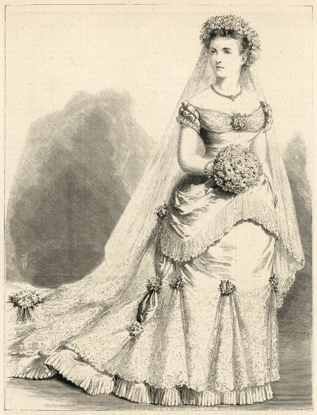 Princess Louise Margaret of Prussia in her wedding attire. She married Prince Arthur, Duke of Connaught and Strathearn at St. George's Chapel, Windsor. Date: 13th March 1879