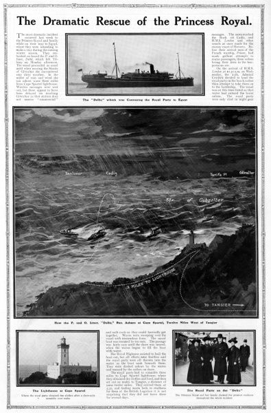 Page from The Sphere magazine entitled, 'The Dramatic Rescue of the Princess Royal' reporting on the shipping accident involving Princess Louise, the Princess Royal (Duchess of Fife), her husband the Duke of Fife and two daugthers, Princess Alexandra