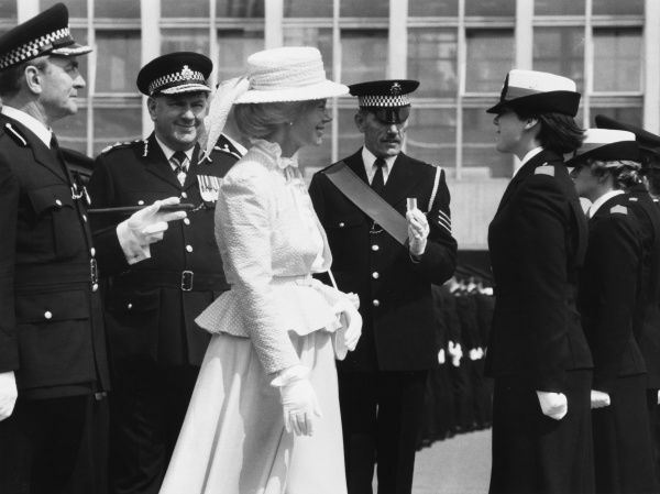 Birgitte, Duchess of Gloucester (b 1946) with police commissioners at a parade of Metropolitan Police cadets