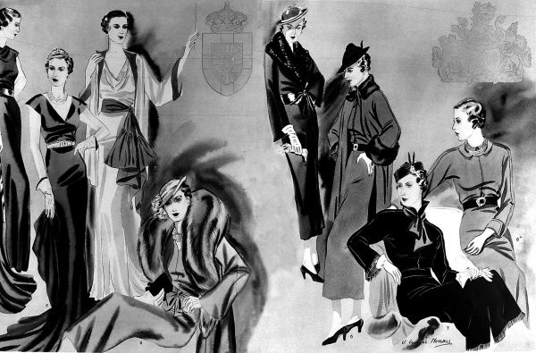 A montage of illustrations showing the various elegant and fashionable outfits which formed part of the Duchess of Kent's (formerly Princess Marina of Greece) trousseau on marrying, Prince George, Duke of Kent in 1934. Date: 1934