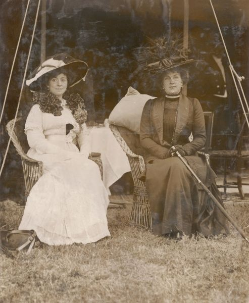 Katherine Caroline Cavendish, Duchess of Westminster (1857-1941), second wife of the 1st Duke of Westminster (left), and Queen Ena (Victoria Eugenia) of Spain (1887-1969), wife of King Alfonso XIII and granddaughter of Queen Victoria