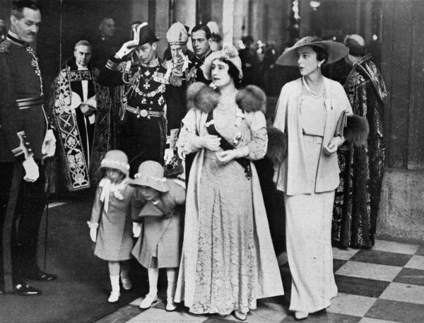 The Duchess of York with her daughters Princess Elizabeth and Princess Margaret, and the Duchess of Kent, at the West Door of St. Paul's Cathedral. The photograph was taken after the Thanksgiving Service marking King George V's Silver Jubilee