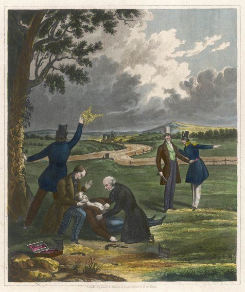 The end of a duel with pistols - one of the protagonists has been hit, and his second signals to his carriage to fetch him away Date: circa 1830