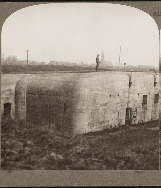 One of the formidable German dug-outs captured by the British in Bickendorf, Germany Date: circa 1918