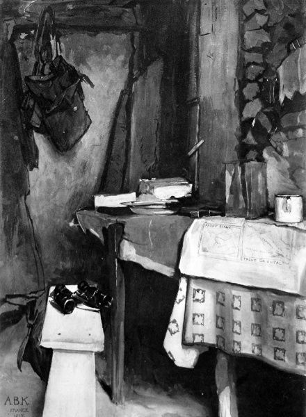 A drawing by a British officer of a typical officers dug-out on the Western Front during Christmas 1915