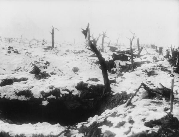 Dug-outs in Tramway Trench north of the Bapaume Road, Pozieres in France on the British front during World War I in February 1917