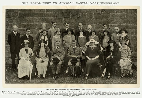 A Royal Visit to Alnwick Castle, Northumberland The Prince of Wales (later King Edward VIII) and invited guests including The Duke and Duchess of Northumberland, Duchess of Portland, Duchess of Sutherland and other guests.  1923