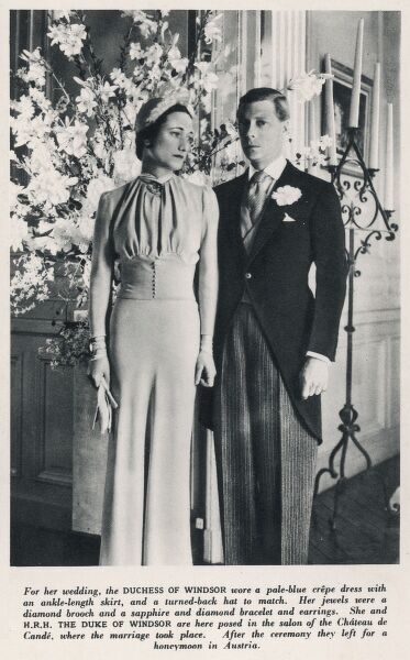 The Duke and Duchess of Windsor pictured in the salon of the Chateau de Cande, where they were married in 1937. The Prince of Wales abdicated the throne to marry Wallis Simpson