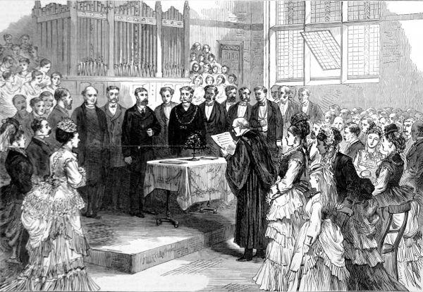 Prince Alfred, Duke of Edinburgh, opening the Seamen's Orphanage, Liverpool in 1870. The Liverpool Seamen's Orphan Institution was established in order to provide care and education for the many Liverpool children who lost families at sea
