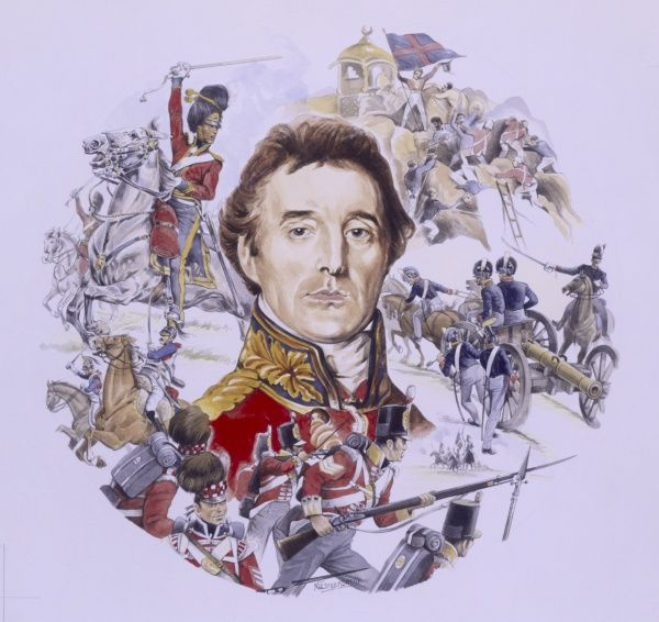 Circular painting depicting the portrait and scenes from the life of Arthur Wellesley, Duke of Wellington, British General and Statesman known as the Iron Duke. Painting by Malcolm Greensmith