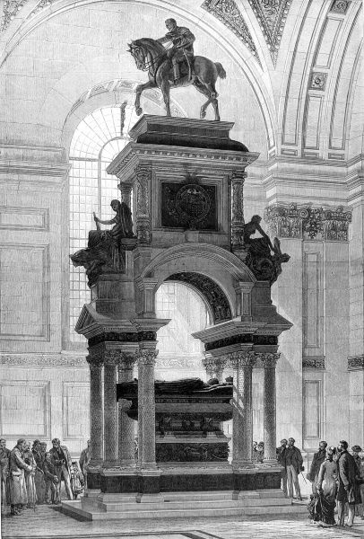 Engraving showing the monument to the Duke of Wellington (1769-1852) in St. Paul's Cathedral, 1878