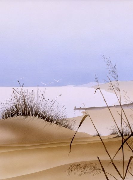 A view toward the dune grass toward the sea. Airbrush painting by Malcolm Greensmith