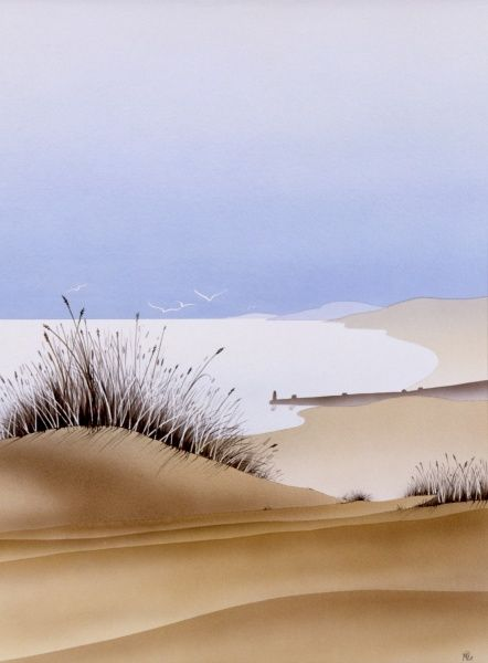 A view across the dunes toward the sea. Airbrush painting by Malcolm Greensmith