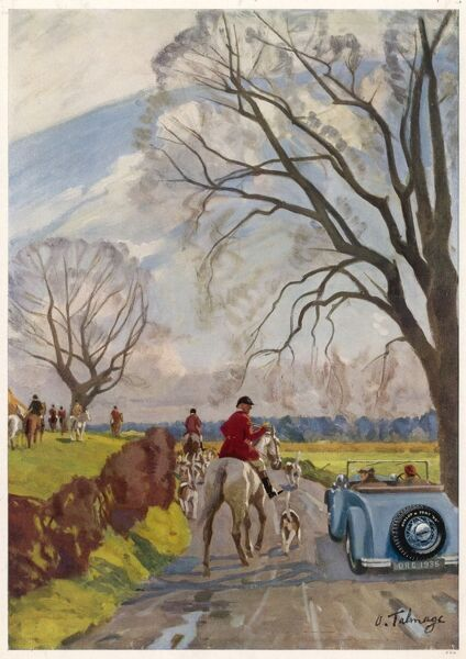 A painting by Algernon Talmage (1871-1939) for a Dunlop tyres advertisement showing a couple in a convertible car motoring past a hunt on a brisk autumn day