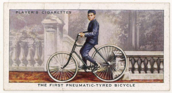 Johnnie Dunlop on the first bicycle to be fitted with pneumatic tyres