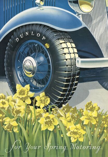 "Advertisement for Dunlop tyres: ""for your Spring Motoring"".  1934"