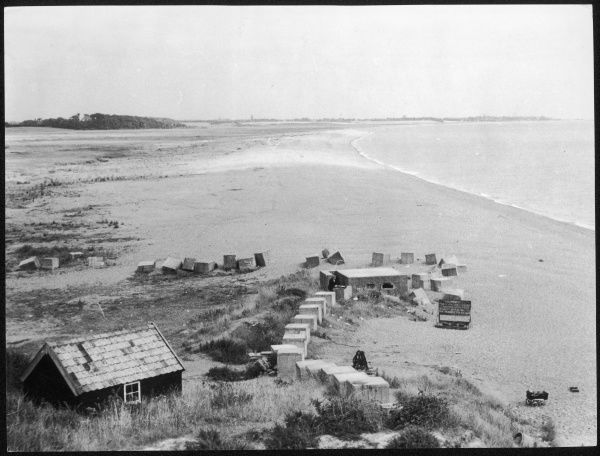 A view of Dunwich in East Suffolk. Once a Saxon settlement, a Roman Station and a busy medieval town. Over the years it has gradually diappeared under the sea. Date: 1950s