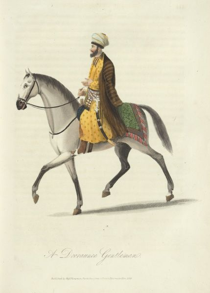 A Dooraunee Gentleman. A 19th century Afghan man riding a horse. He has a sword hung at his side. 1815