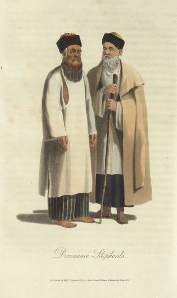 Dooraunee (Durani) shepherds from 19th century Afghanistan. The Duranis were based in southern Afghanistan around Kandahar. 1815