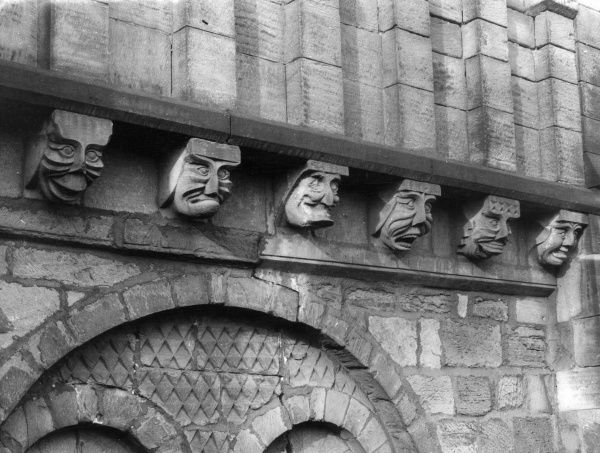 'Comical Corbels' - some of the faces carved into the corbels above the Chapter House of Durham Cathedral, built between 1093 and 1133. Date: 12th century