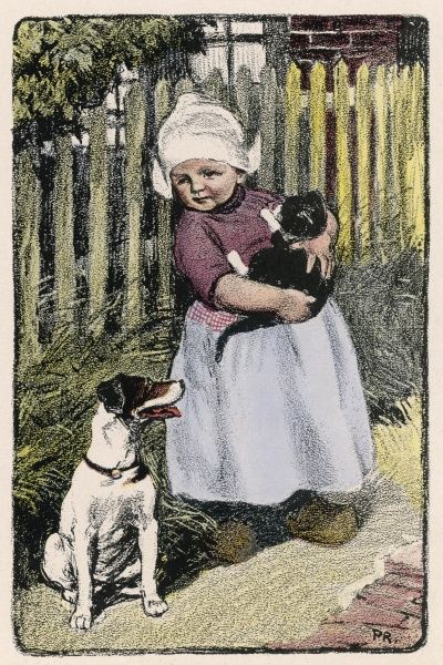 A little Dutch girl with her cat and dog