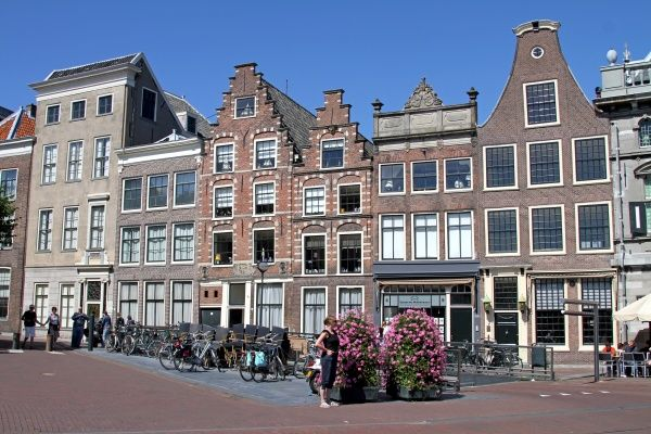 Traditional Dutch houses and architecture in Haarlem, Holland. circa 2008