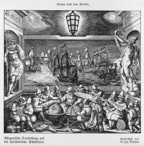 An allegorical comment on Dutch trading ventures of the 17th century - merchants consult atlases and globes while their vessels sail eastwards intent on trade