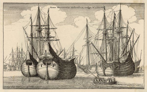 A fine engraving of Dutch trading vessels, showing the distinctive rounded hull, and elaborate carvings both fore and aft