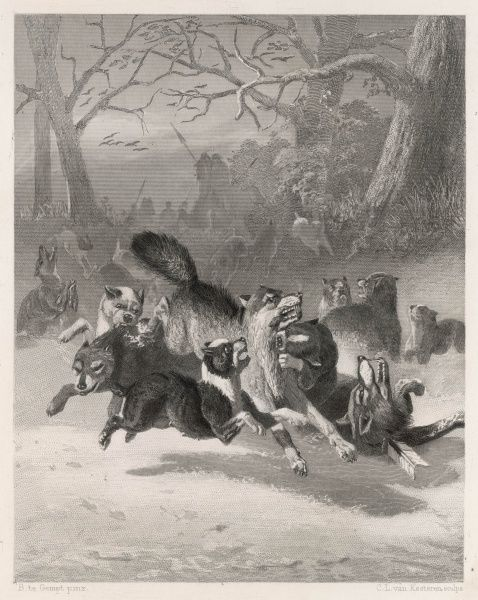 A wolf hunt in medieval Holland