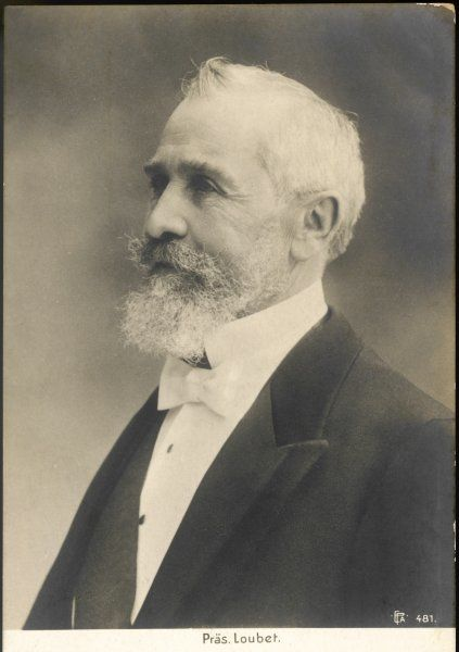 EMILE-FRANCOIS LOUBET French mayor of Montelimar, President 1899-1906 : after Dreyfus Affair, Entente Cordiale and church/state battle, quit public life