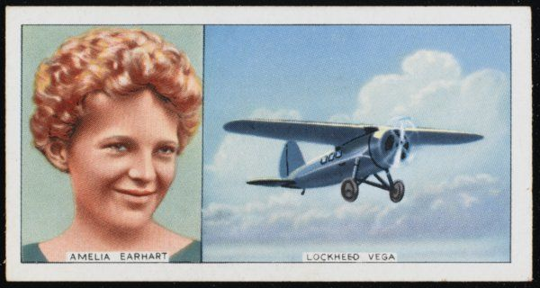Amelia Mary Earhart (Mrs Putnam) and her Lockheed Vega: she was the first woman to fly the Atlantic solo (1932)