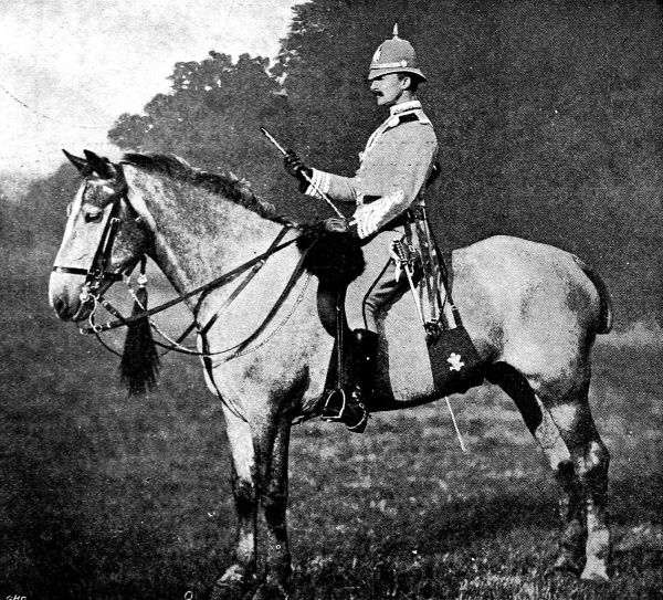 Photograph of the Earl of Albemarle on horseback, in his uniform as Commander of the City Imperial Volunteers Infantry