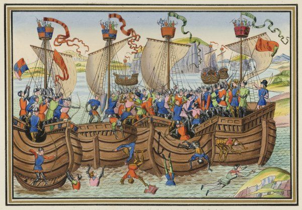 English and Spanish warships of the 100 years' war. The Earl of Pembroke's expedition is attacked by the Spanish Fleet