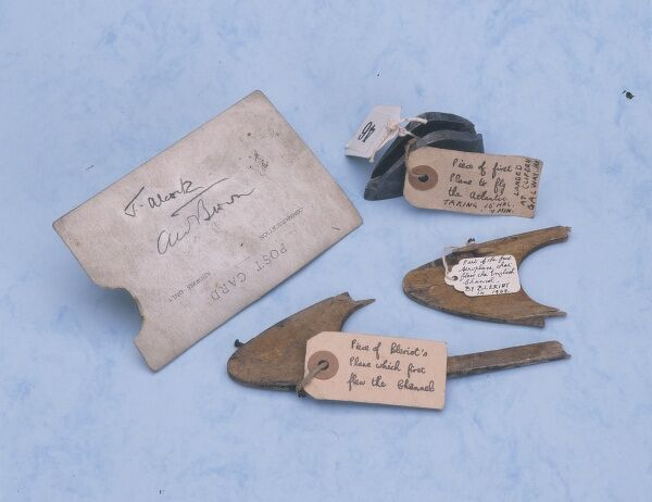 A selection of early aviation artefacts associated with Louis Bleriot and Alcock & Brown