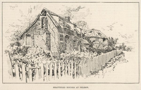 The Colchester earthquake in Essex, Britain: shattered houses at Peldon