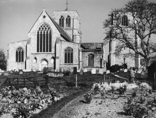 East Dereham Church, Norfolk, England, a place of pilgrimage for all lovers of English poetry; for it is here that William Cowper (1731 - 1800) is buried. Date: 1950s photo