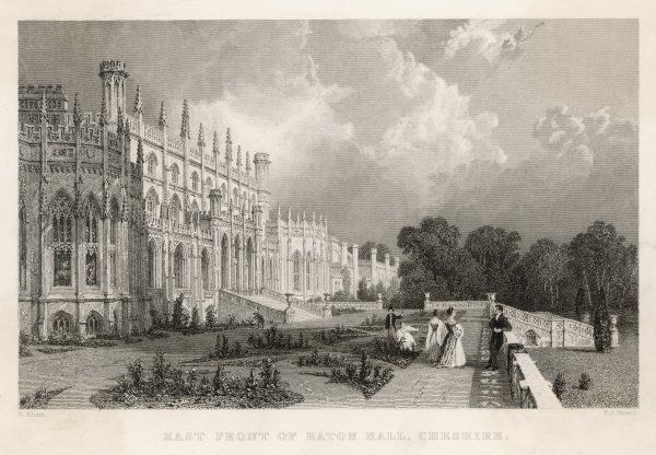 East front of Eaton Hall, Cheshire. Date: 1836