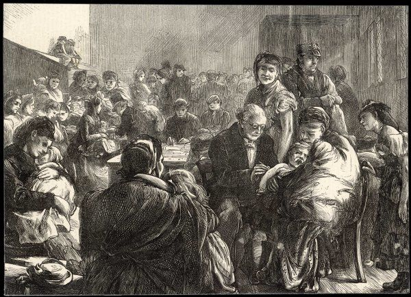 A doctor administers vaccinations to the poor folk of London's east end