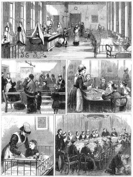 Five pictures of the interior of the hospital in 1878