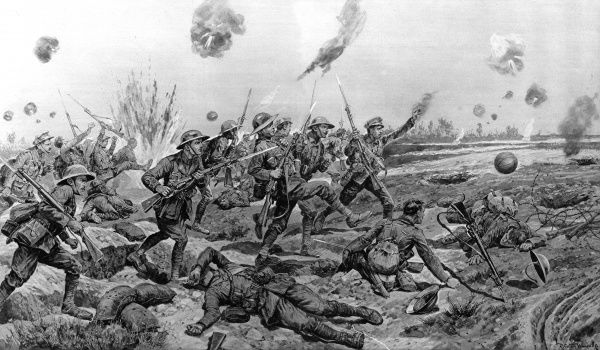 Soldiers of the East Surrey regiment advance through heavy fire towards enemy lines, kicking footballs as they go