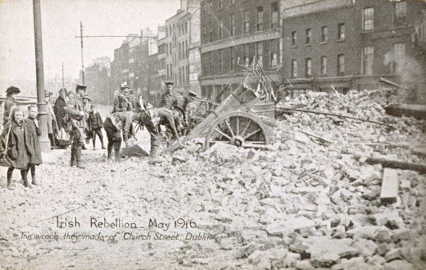 After the Easter rebellion against English rule. Church Street, Dublin
