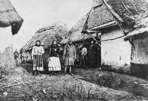 Village in Salicia on the Eastern Front during World War I