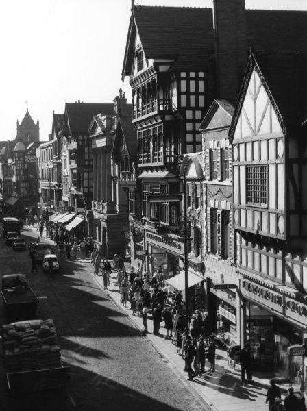 A fine overview of Eastgate Street, Chester, Cheshire, England, the main street of this historic city. Date: 1960s